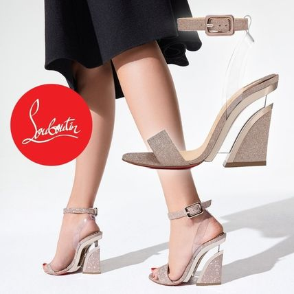Christian Louboutin Open Toe Casual Style Blended Fabrics Handmade PVC Clothing