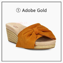 UGG Australia Open Toe Casual Style Suede Blended Fabrics Plain Leather