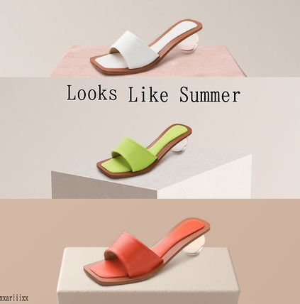 Open Toe Plain Mules Sandals