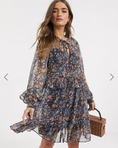 YAS Short Flower Patterns Long Sleeves Dresses