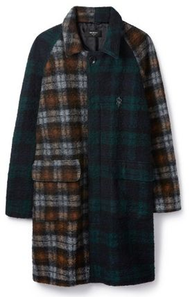 Other Plaid Patterns Wool Street Style Long Coats
