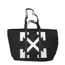 Off-White Casual Style Unisex Canvas Street Style A4 Logo Totes