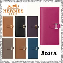 HERMES Bearn Leather Long Wallets