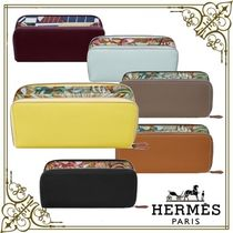 HERMES Silk In Unisex Calfskin Long Wallet  Long Wallets
