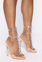 FASHION NOVA Open Toe Round Toe Studded Plain Pin Heels Party Style