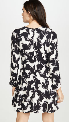 Long Sleeves Other Animal Patterns Dresses
