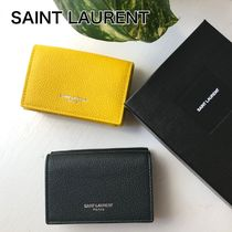 Saint Laurent Plain Leather Small Wallet Logo Folding Wallets