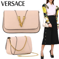 VERSACE Casual Style 2WAY Chain Plain Leather Party Style