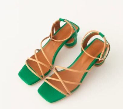 Square Toe Casual Style Plain Leather Logo Sandals Sandal