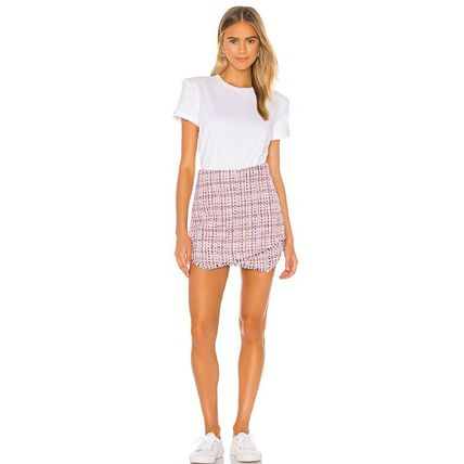 Flared Skirts Short Casual Style Tweed Office Style