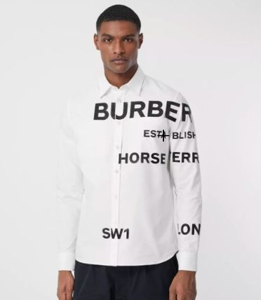 Burberry Shirts Unisex Long Sleeves Cotton Logo Luxury Shirts 4