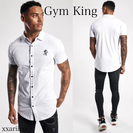 Street Style Plain Cotton Short Sleeves Logo Workout Shirts
