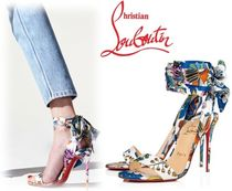 Christian Louboutin Flower Patterns Open Toe Lace-up Casual Style