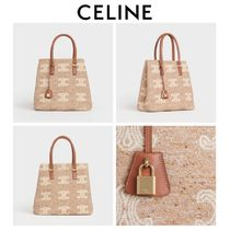 CELINE Horizontal Cabas Casual Style Calfskin Blended Fabrics Totes