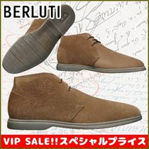 Berluti Suede Plain Leather Logo Chukkas Boots