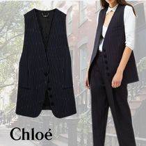 Chloe Stripes Casual Style Wool Medium Office Style Vest Jackets