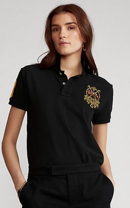 Ralph Lauren Logo Casual Style Plain Cotton Short Sleeves Polos