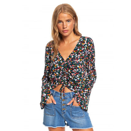 ROXY Flower Patterns Casual Style Elegant Style Shirts & Blouses