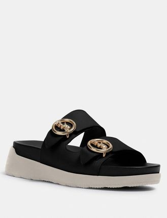 Casual Style Leather Slippers Logo Sandals
