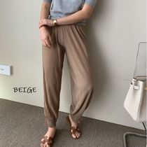 Casual Style Pleated Skirts Street Style Plain Cotton Long