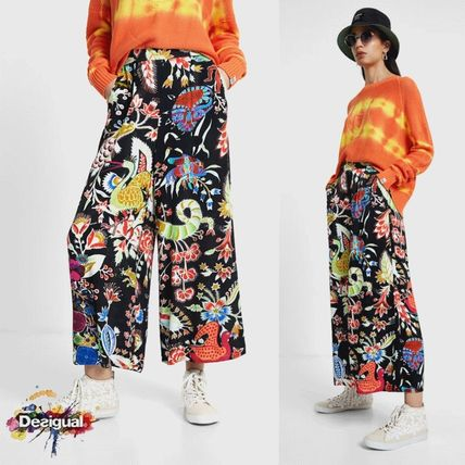 Desigual Printed Pants Flower Patterns Casual Style