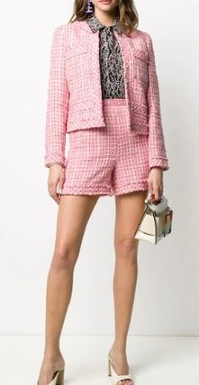 Short Zigzag Casual Style Tweed Party Style Office Style