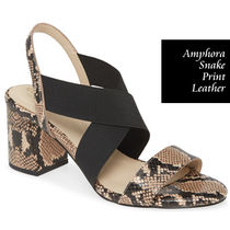 Cole Haan Open Toe Other Animal Patterns Leather Block Heels Python