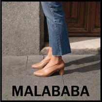 Malababa Casual Style Plain Leather Block Heels Party Style