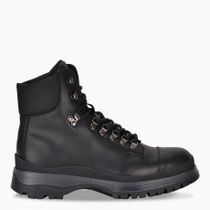 PRADA Mountain Boots Blended Fabrics Plain Leather Logo