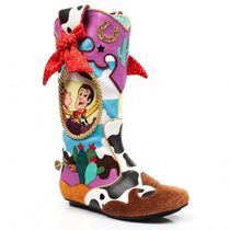 Irregular Choice Cowboy Boots Round Toe Casual Style Collaboration Flat Boots