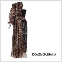 Dolce & Gabbana DOLCE Leopard Patterns Maxi Silk Flared Long Party Style