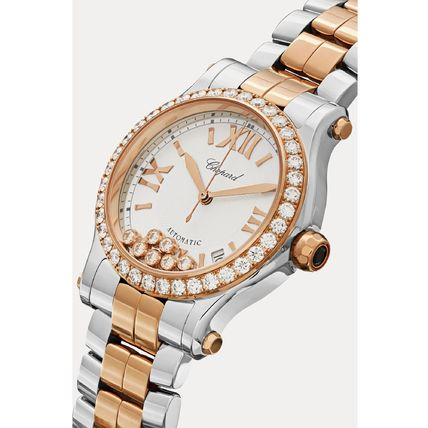 Round Mechanical Watch Jewelry Watches 18K Gold Stainless