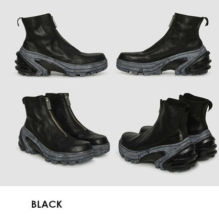 Unisex Street Style Collaboration Plain Leather Boots