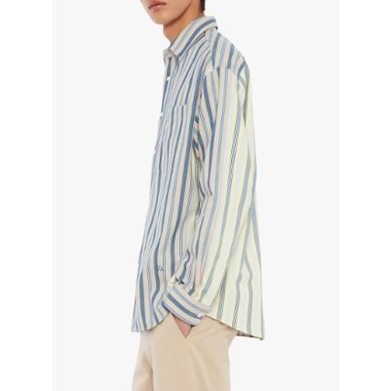 Stripes Linen Long Sleeves Oversized Front Button Designers