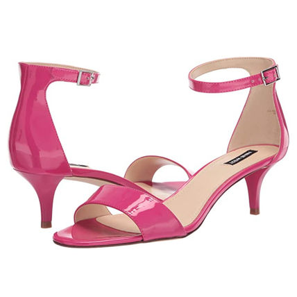 Open Toe Casual Style Plain Leather Pin Heels Party Style