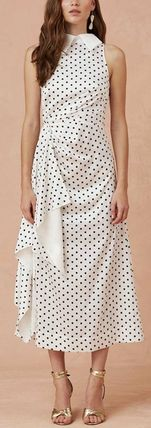 Dots Sleeveless Flared Medium Party Style Elegant Style