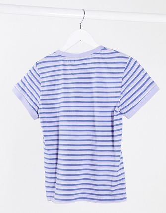 Crew Neck Stripes Cotton Medium Short Sleeves T-Shirts