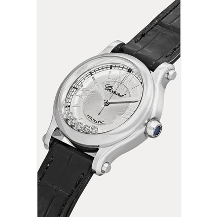 Leather Round Mechanical Watch Jewelry Watches Stainless