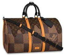 Louis Vuitton DAMIER Unisex Canvas Street Style Collaboration A4 Logo Boston Bags