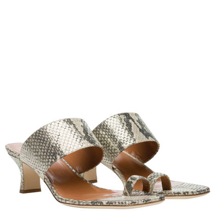 Open Toe Leather Python Sandals