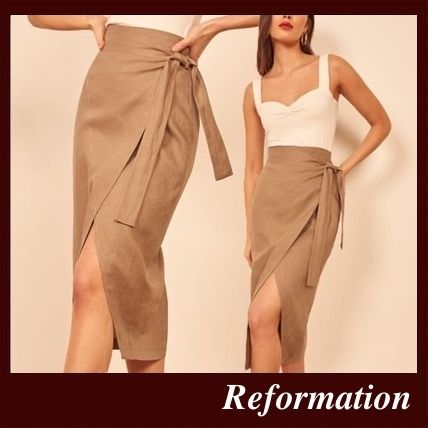 Pencil Skirts Casual Style Linen Plain Medium Party Style