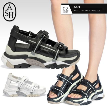 Open Toe Platform Round Toe Casual Style Leather