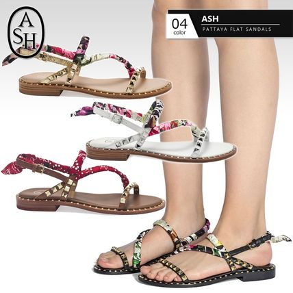 Flower Patterns Open Toe Round Toe Casual Style Studded