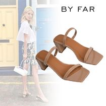 by FAR Open Toe Casual Style Plain Leather Block Heels Party Style