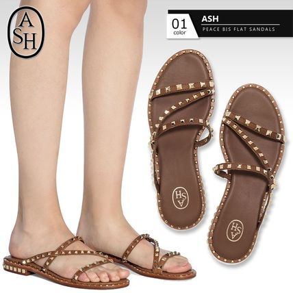 Open Toe Round Toe Casual Style Studded Plain Leather