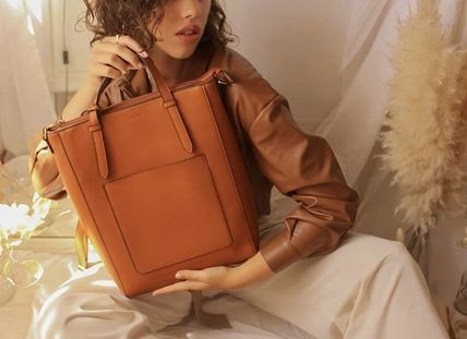 Casual Style 2WAY Plain Leather Office Style Elegant Style