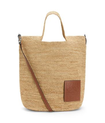 LOEWE Slit Bag In Raffia And Calfskin