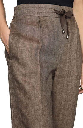 Casual Style Linen Plain Long Office Style