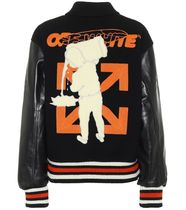 Off-White Wool Cashmere Leather Angola Logo Varsity Jackets