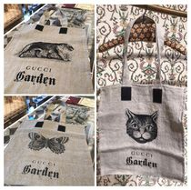 GUCCI Casual Style A4 Other Animal Patterns Logo Totes